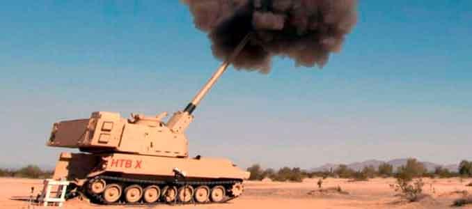 El obús Extended Range Cannon Artillery (ERCA) hace un disparo de prueba