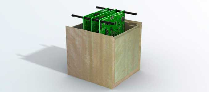 satélite de madera